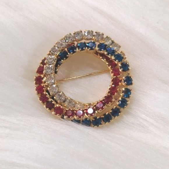 Red White Blue Goldtone Triple Ring Circle Brooch